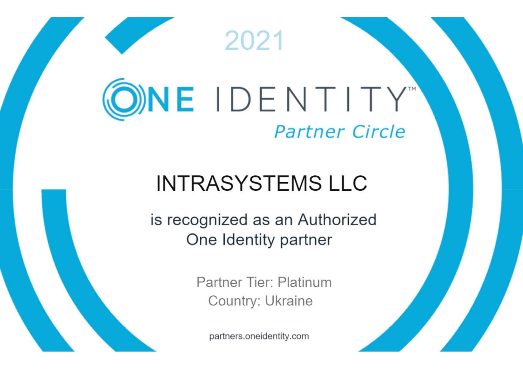 Компанія ІНТРАСИСТЕМС оголошує про отримання статусу One Identity Platinum Partner!